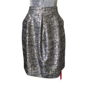 NWT St John Couture Silver/Caviar Multi Skirt 6